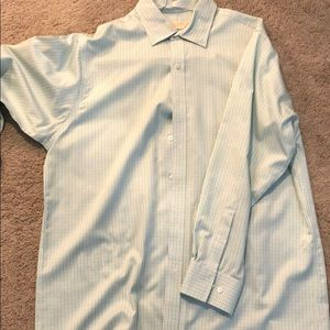 Michael Kors size 16.5 and 32/33 blue green shirt